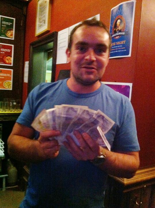 Matt with the nights winnings!