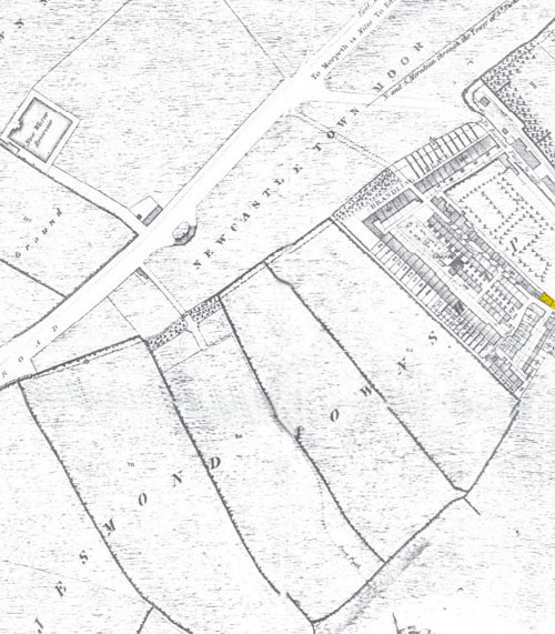 T. Oliver's map of 1830 shows the building (highlighted) that was to become The Collingwood Arms at the east end of the High Street.