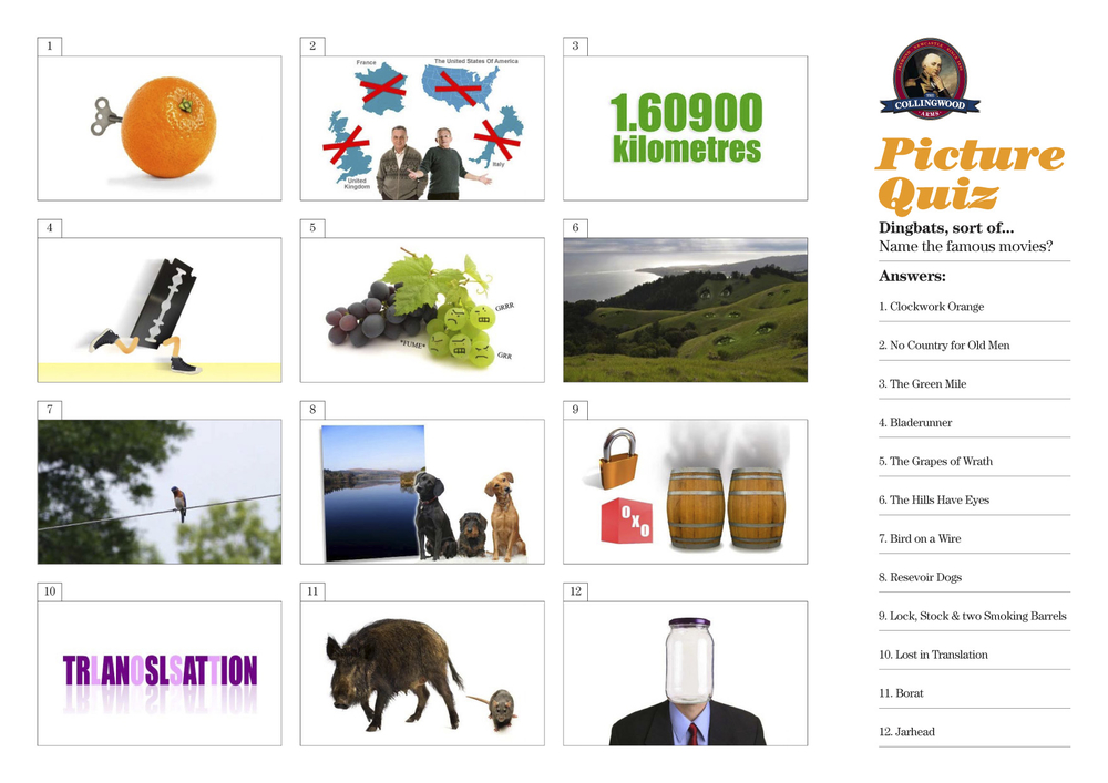 Most of the teams did fairly well with the dingbats picture quiz.