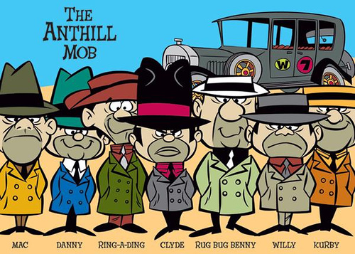 37. In the cartoon Wacky Races what was the team name for the gangsters driving the Bulletproof Bomb?  The Ant Hill Mob