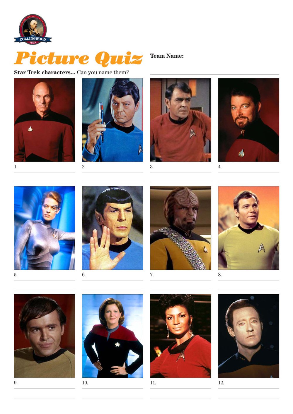 Beam me up Scotty, this weeks questions were on that perennial favourite Star Trek.