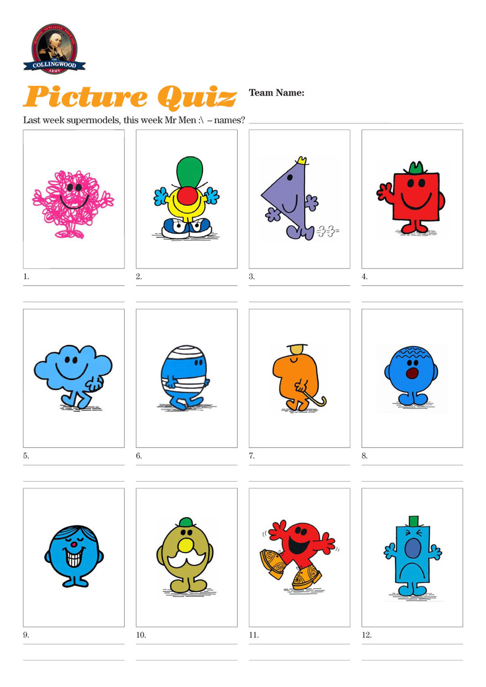 Quiz 61 Mr Men Not Welcomed At The Bar The Collingwood