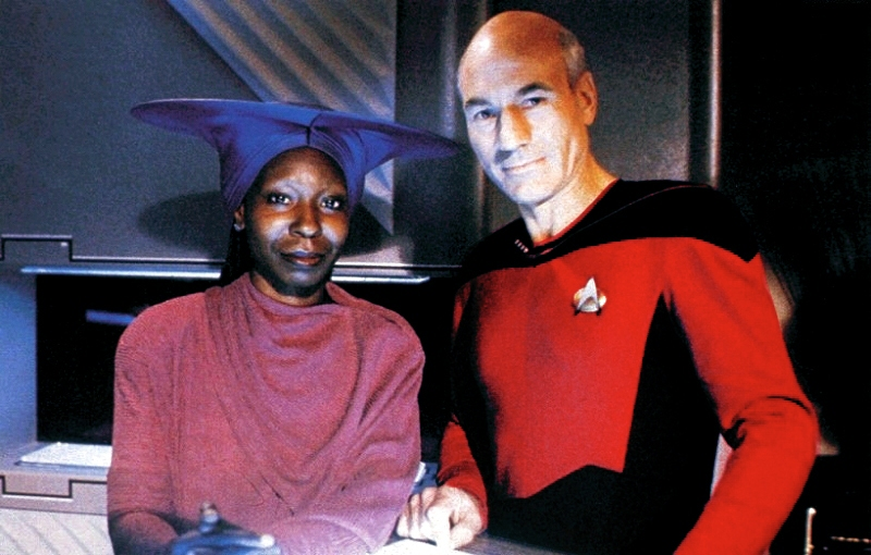 32. Which film star had an occasional role as Guinan, the female bartender, in the TV series Star Trek: The Next Generation? Whoopi Goldberg