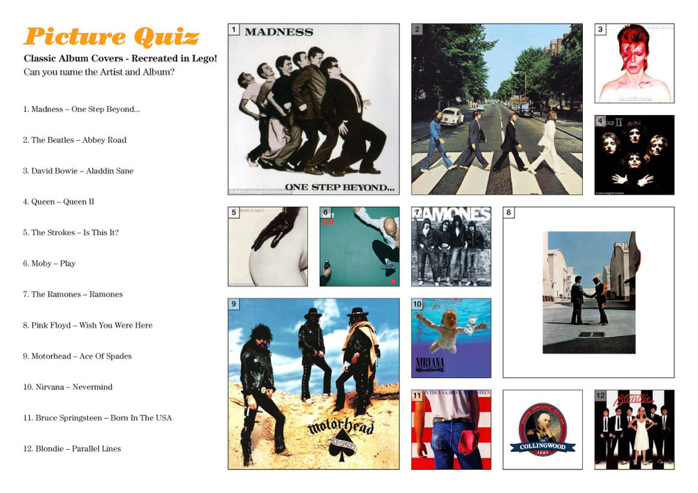 Here's the actual album covers, the Lego ones do have the 'essence'?