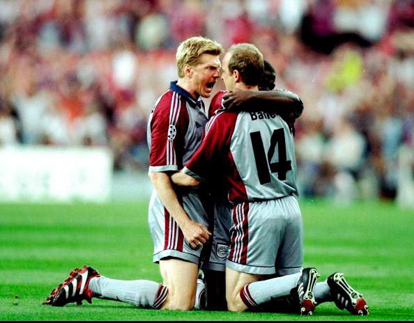 Q30 Manchester United won the 1998/99 Champions League Final 2-1, with very late goals from Sheringham and Solskjær but who had scored for Bayern Munich in the 6th minute of the game? (Both Names) Mario Basler