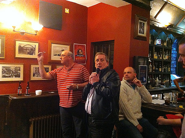 Quiz 87 was won by Heroes & Zeroes after a three team Dart Off. Mick (pictured) threw some cracking darts!