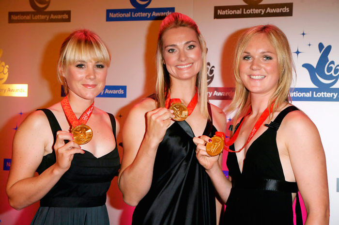 Q22 What collective nickname was given to sailing medalists Sarah Ayton, Sarah Webb, and Pippa Wilson? Three Blondes in a Boat