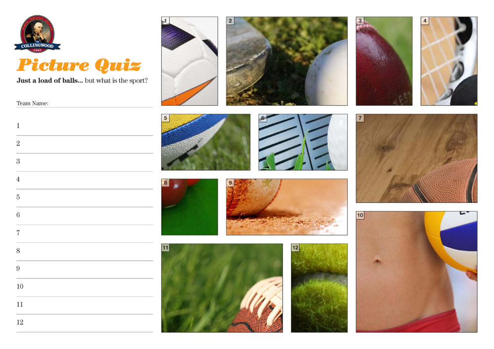 "Picture Quiz clue this week...    ""Sport... that's just a load of balls"""