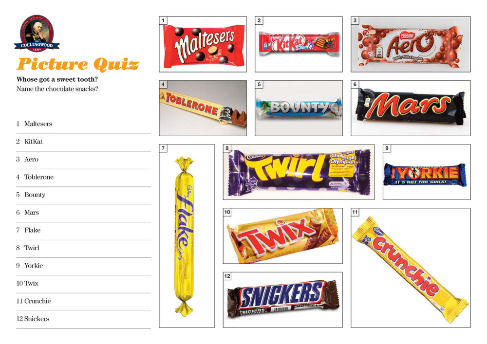 Most of our quizzers were obviously choccy bar addicts!