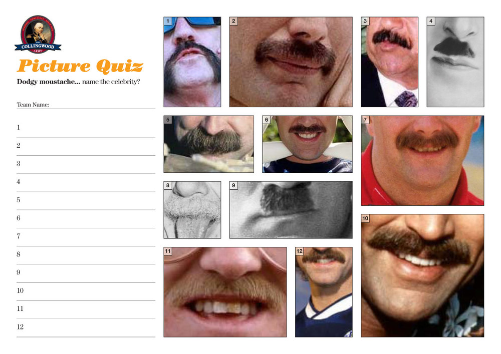"""There's always a clue in the  Quiz Preview  as to what the pics may be. This week it was """"Famous people sporting, toothbrush, walrus and horseshoe varieties amongst others"""""""