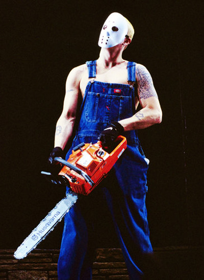 Q17 Which controversial rap star appeared at the 2001 Brit Awards with a mask and chainsaw? Eminem