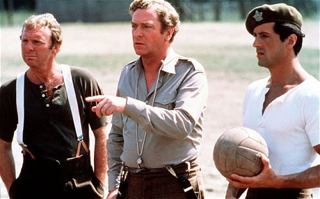 Q32 Michael Caine, Bobby Moore, Max von Sydow and Osvaldo Ardiles starred in which eighties film set in World War II? And for a bonus point what year was it released? Escape to Victory, 1981