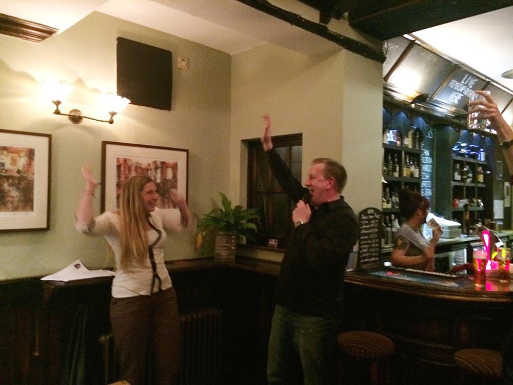 Christy and John celebrate.