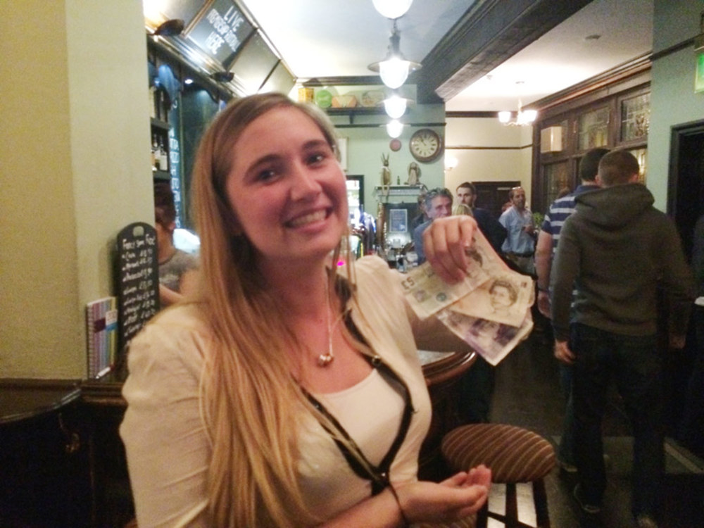 A very happy Christy with her £39 winnings.