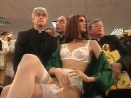 Q33 Who was awarded a coveted Golden Cleric award for leading his companions out of a department stores lingerie department on a Christmas Eve special in 1996? Father Ted