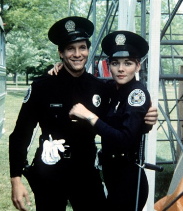 Q35 When these cops hit the streets, even the bad guys die laughing! is the tagline to which 1984 movie? And for a bonus point the actress who played Cadet Karen Thompson went on to find stardom in what major TV Series? Police Academy, Cadet Karen Thompson was played by Kim Cattrall who went on to play Samantha in Sex & The City