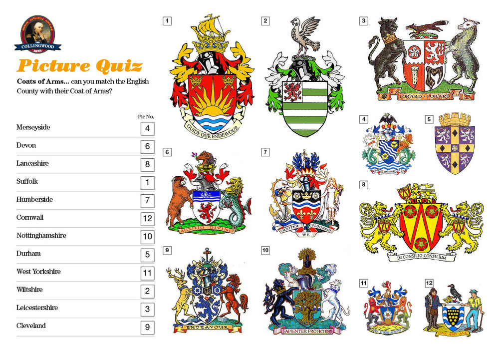 Most of our teams were a bit baffled with the Coat of Arms Picture Round but one team knew the lot! Make sure you read the   Quiz Preview   every week, there's a Picture Round clue in there!