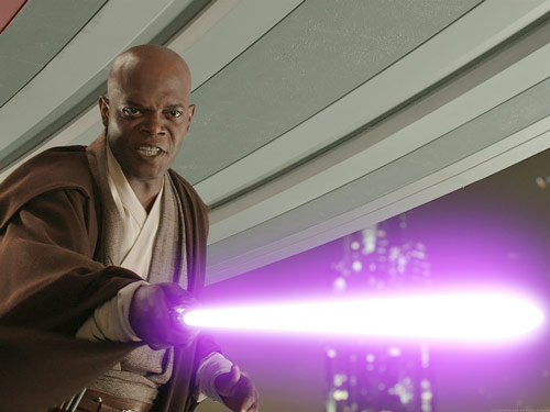 Q35. When Samuel L Jackson had a role in Star Wars he requested that his character had what colour light saber? And for a bonus point what was the full name of the Jedi Knight he played? His light saber was purple and he played the Jedi Mace Windu