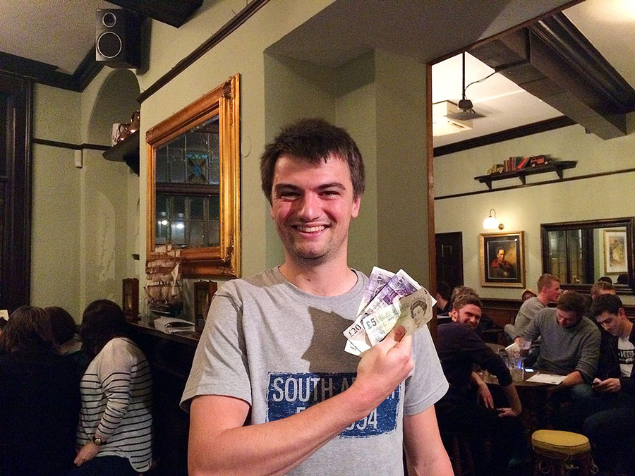 Will W showing off his huge wad! £45 Wild Card winnings... lucky man!