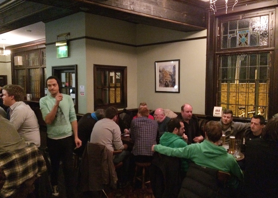 You couldn't get a seat in the front bar, Quizmaster John had to stand.