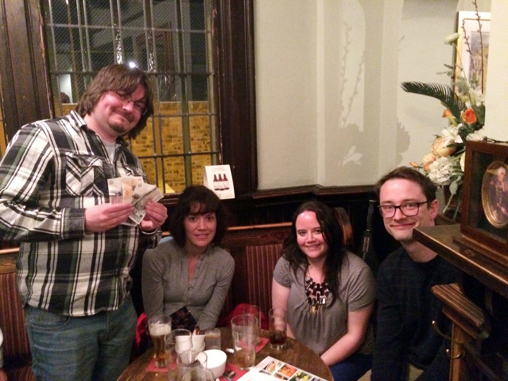 Third place and £57 went to  Happy Birthday Zombie Jesus  after just pipping Rascal Ferrets by half a point!