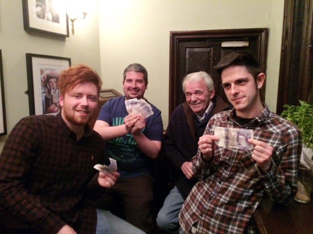 Quiz 163 Winners  Three's Up!  showing off their £200 prize.