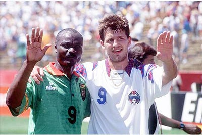 Q27 Who is the only player to score five goals in a World Cup match to date only to be upstaged by Roger Milla in the same game who became the oldest player to ever score in the World Cup? Oleg Salenko