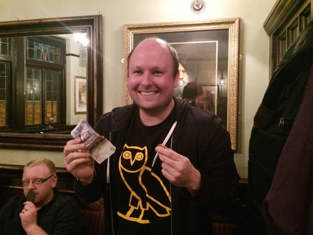 Big Dog  shows off his £24 Wild Card winnings