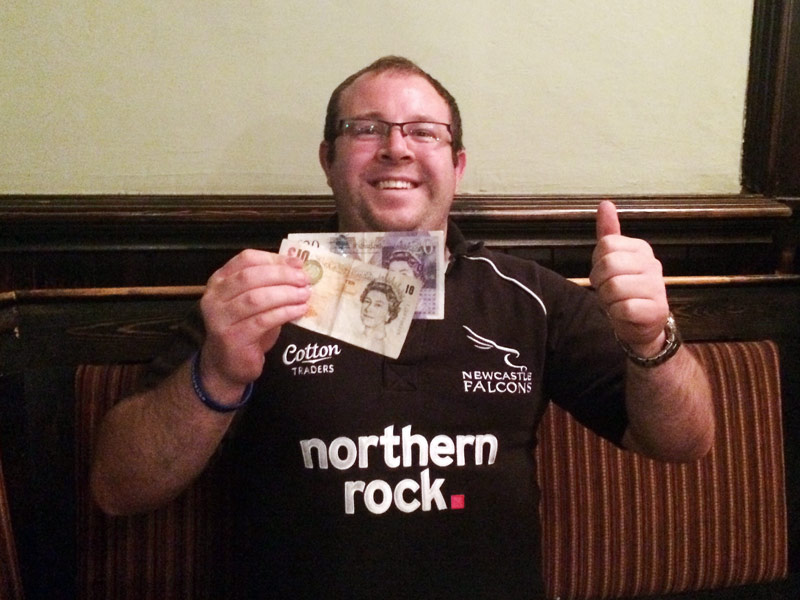 Jack showing off his £31 Wild Card Cash Prize!