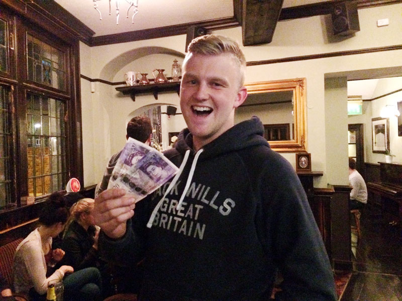 Hodgie (AKA Mike Hunt-Hurtz) with his £40 Wild Card winnings. Not bad for a quid stake!
