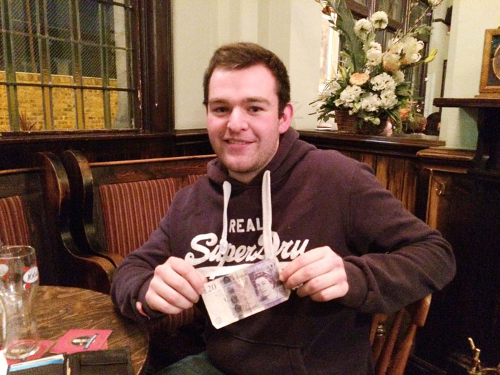 Alex G showing off his £31 Wild Card Cash Prize!
