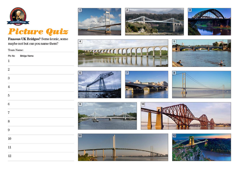"""The clue to the Picture Round on the Preview this week was """"Nationally they come in several varieties including truss, beam and tied arch""""... obviously bridges then!"""