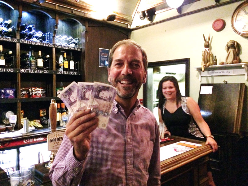Mike had only popped in for a pint but left with a record Wild Card Win of £61. That's Becky in the background Photobombing!