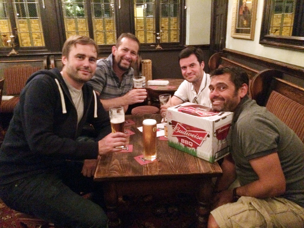 Our Winners  Los Bombaderos  relax with their beer prize after winning a thrilling Dart Off.