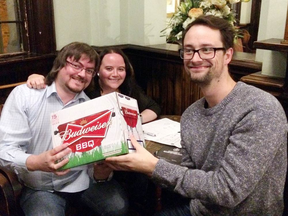 Our Winners  Spontaneous Wrecks Has Lost It's Member And Is Drooping  may not have drawn the Cash but a case of Bud isn't bad prize for a fun night out is it?