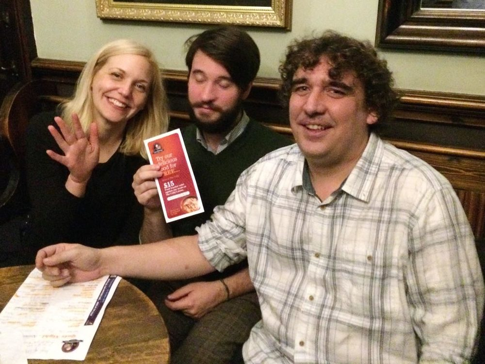 The Three Big Quizzers team had put so much effort into winning the Colly Quiz this week one of the guys passed out!