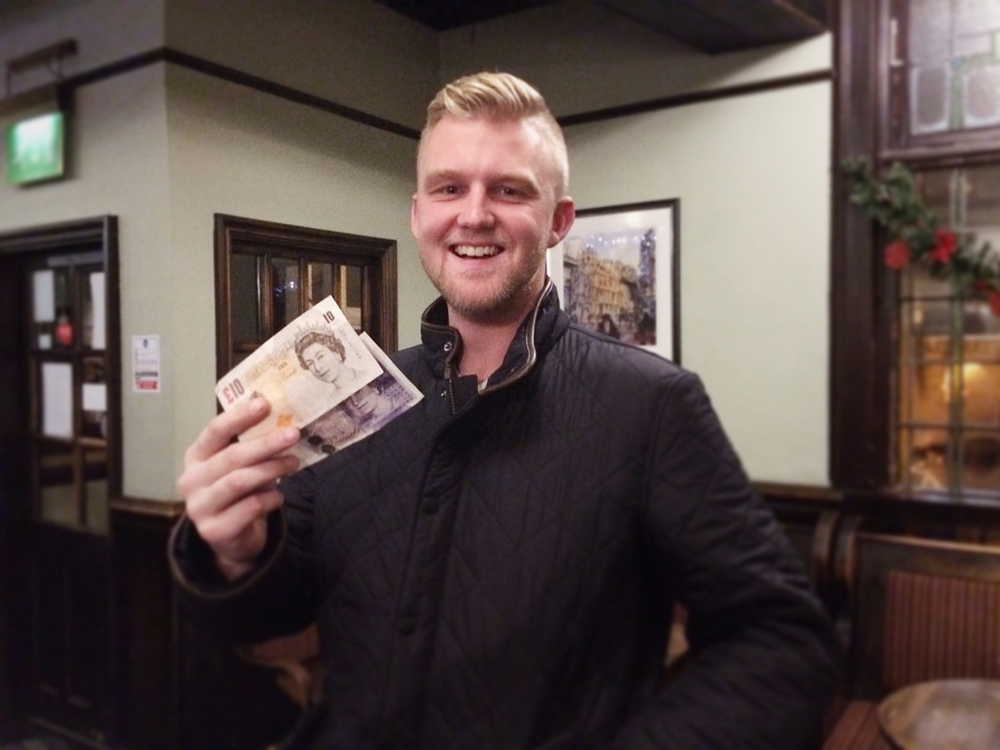 Wild Card Winner  Hodge  was chuffed... his team had fallen at the final hurdle in the Quiz but his horse came in for £31.