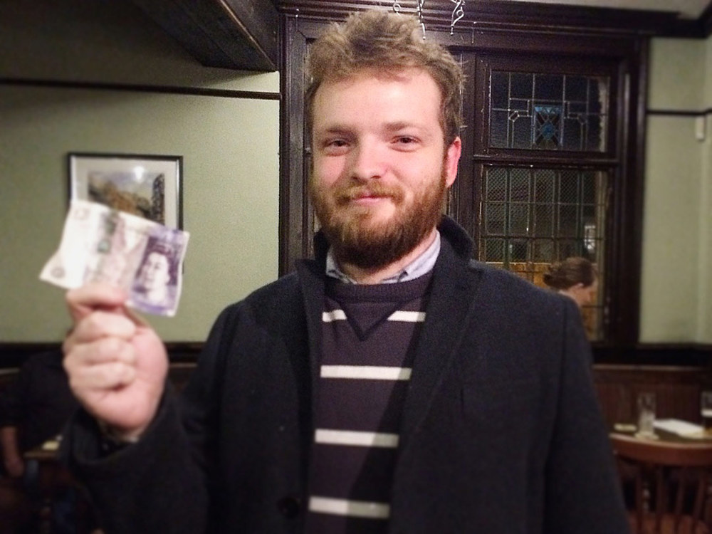 The Hasty Puddings may have been fourth in the Quiz but Anto wasn't too disappointed, he left £24 up after winning the Wild Card.