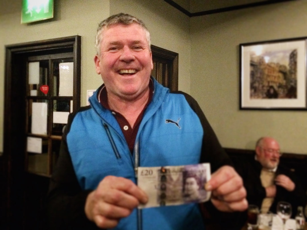 We've missed him! Phil 'The Power' Mac hasn't been to the Quiz for months and months but what a profitable return, he won the £22 Wild Card