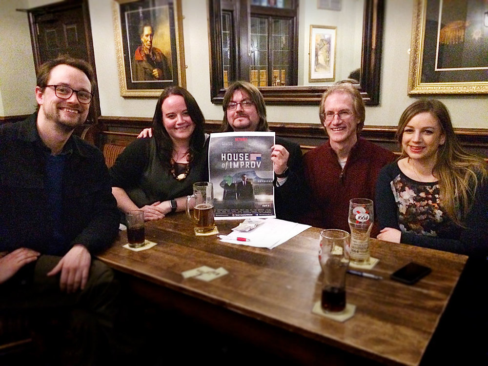 Our worthy Cash Prize Winners at Quiz 212  Spontaneous Wrecks...  Jon F couldn't resist the promotional opportunity for  Spontaneous Wrecks  next gig:  House of Improv , Wednesday 6 April at The Bridge Hotel.
