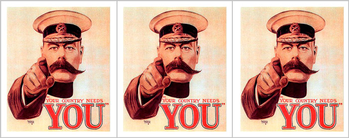 "Q9. Who was the British War Minister with the handlebar mustache that was pictured on the famous World War One recruitment posters pointing his finger with the slogan Your Country Needs You""? Lord Kitchener"