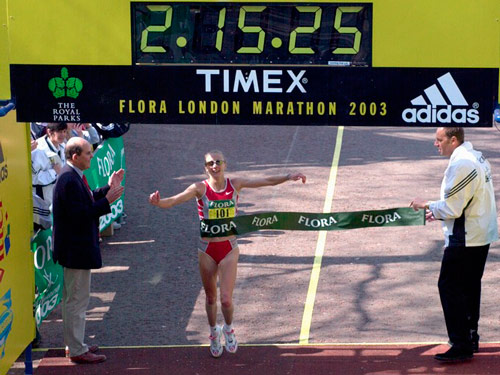 Q24. Who has held the Women's World Record Marathon time since 2003? Paula Radcliffe, 2:15:25 London 2003
