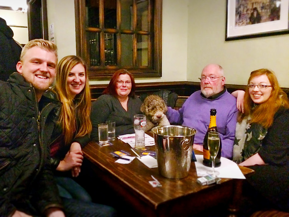 Our Winners, He's Traded In His Little Red Corvette For A Big Black Hearse, might have just drawn the Food Vouchers but they were as happy as everyone else that the £46 was rolling over to Quiz 218