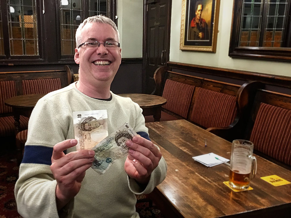 Malcolm was at his first ever Colly Quiz, his Team did well to come fourth with a decent 39 points and he won the £17 Wild Card... not a bad night all round then!