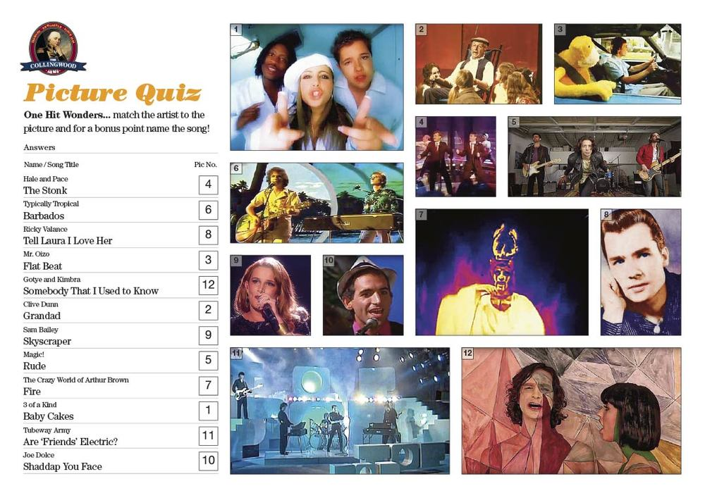 A variety of scores in this weeks Picture Round, those who did best had a variety of ages as there were One Hit Wonders from each decade from 1960 to 2014.  Get the unbranded hi res version of this Picture Quiz from  The QuizMaker
