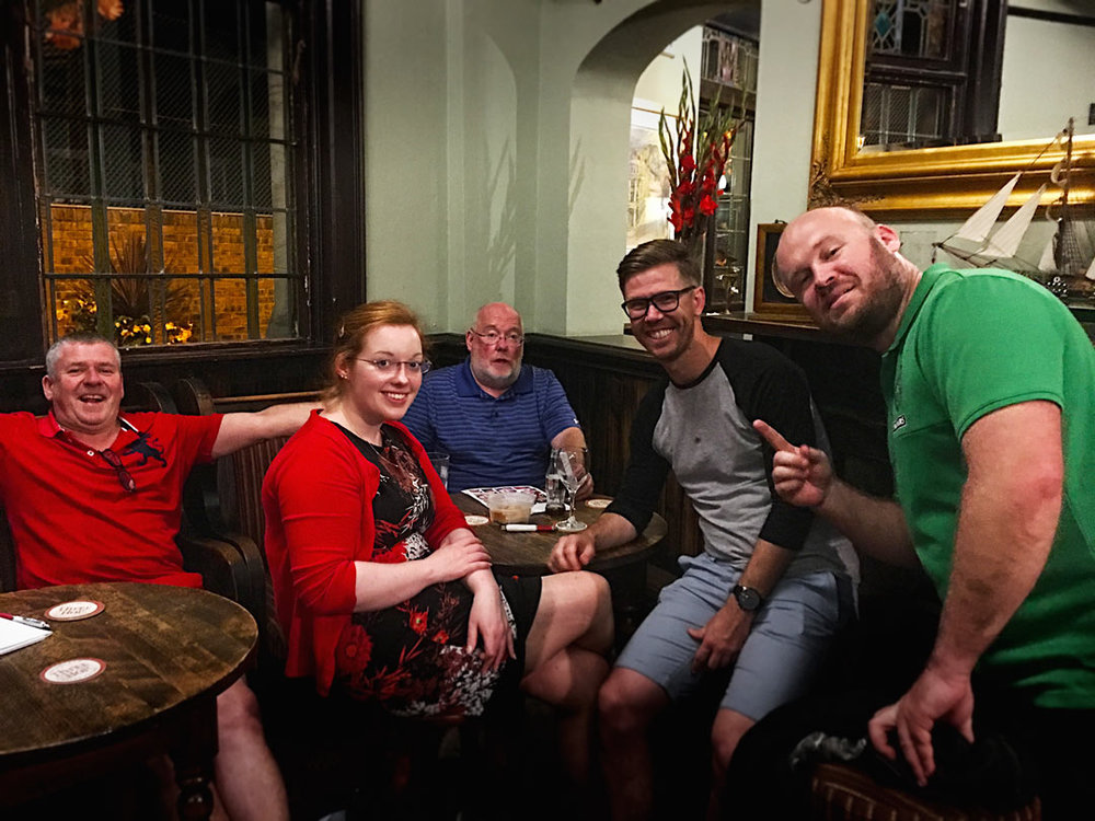 Unlucky Aileen and Team Two Bogans, Two Sweaties, One Paddy but let's face it you've won plenty Quiz Nights so we were all over the moon to see the £70 rollover to next week!