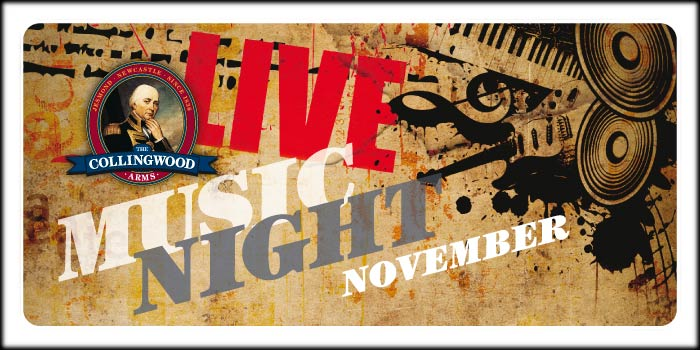 Get it in your diary! Our next free Live Music Night will be on Saturday 5th November from 7:30pm.