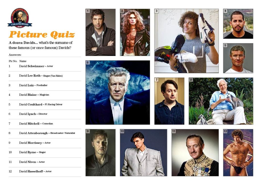 Most of our Teams got decent scores in the Dozen Daves Picture Round. Get the unbranded hi res version of this Picture Quiz from TheQuizMaker