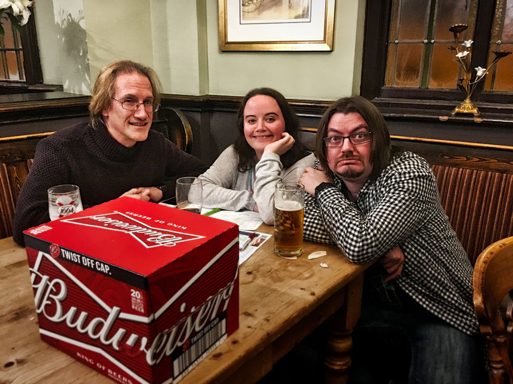 Despite drawing a case of Budweiser and not the massive £355 Cash Prize, Jon, from the winning Team Spontaneous Wrecks, was still remarkably upbeat!