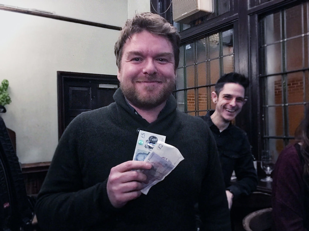 Rob was well chuffed with his £26 Wild Card at Quiz 249, mind you so was his mate Nick!